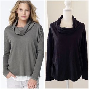 James Perse Jersey Funnel Neck in Black Shirt